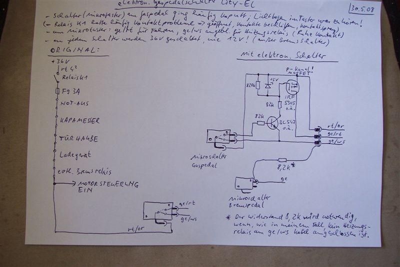Schaltplan des elektronischen Gasschalters am City-El